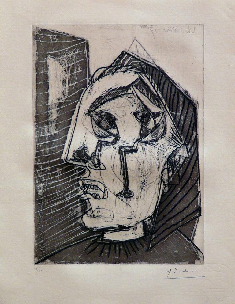 Pablo Picasso Portrait Print - Femme qui pleure devant un Mur (Bloch 302)