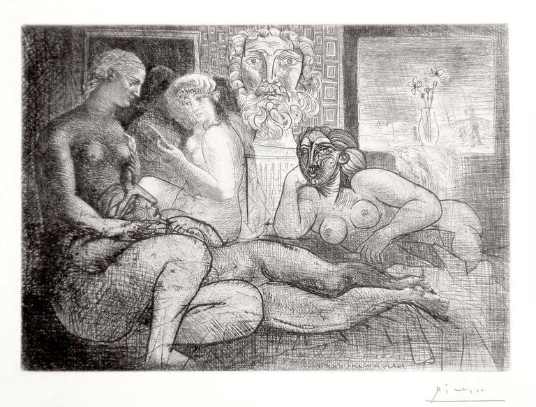 Pablo Picasso Figurative Print - Femmes entre Elles avec Voyeur sculpté. Clin d'Oeil au Bain turc (S.V. 82) B219