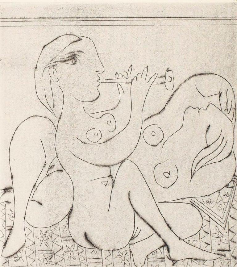 Pablo Picasso Figurative Print - Flûtiste et dormeuse II