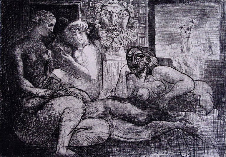Pablo Picasso Portrait Print - Four Nude Women and a Sculpted Head, from: Suite Vollard - Modern Portraits