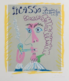"""""""'Fumeur' from Picasso Dessins,"""" color lithograph by Pablo Picasso"""