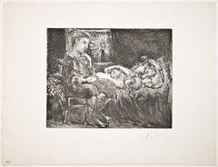 Garçon pensif veillant une Dormeuse à la Lumière d'une Chandelle (S.V. 26)