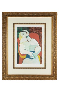 """Giltwood Framed """"Le reve """" Lithograph After Picasso"""