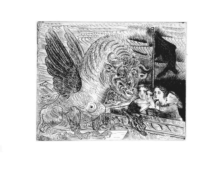 Pablo Picasso Animal Print - Harpye à Tête de Taureau, et Quatre Petites Filles sur une Tour surmontée B229