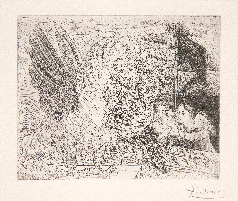 Harpye a Tete de Taureau, et Quatre Petites Filles sur une Tour Surmontee d'un D