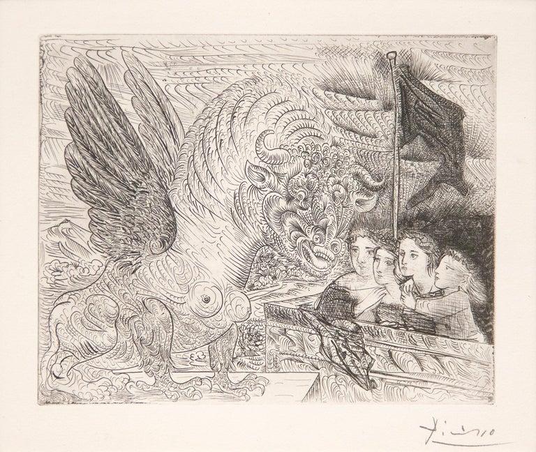 Pablo Picasso Animal Print - Harpye a Tete de Taureau, et Quatre Petites Filles sur une Tour Surmontee d'un D