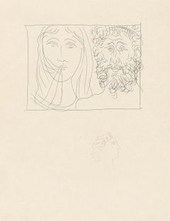 Head of a Man and a Woman - Original Etching by Pablo Picasso - 1931