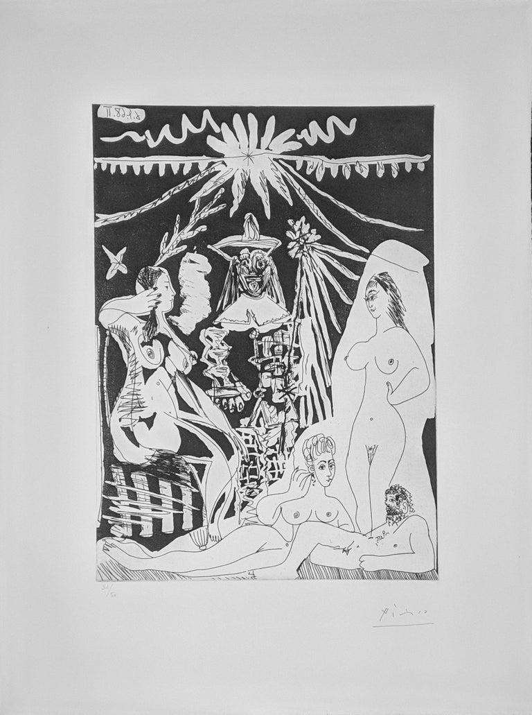 Pablo Picasso Portrait Print - HOMME ALLONGE, AVEC DEUX FEMMES, EVOQUANT LES RAPPORTS D'UN VIEUX CLOWN ET D'UNE