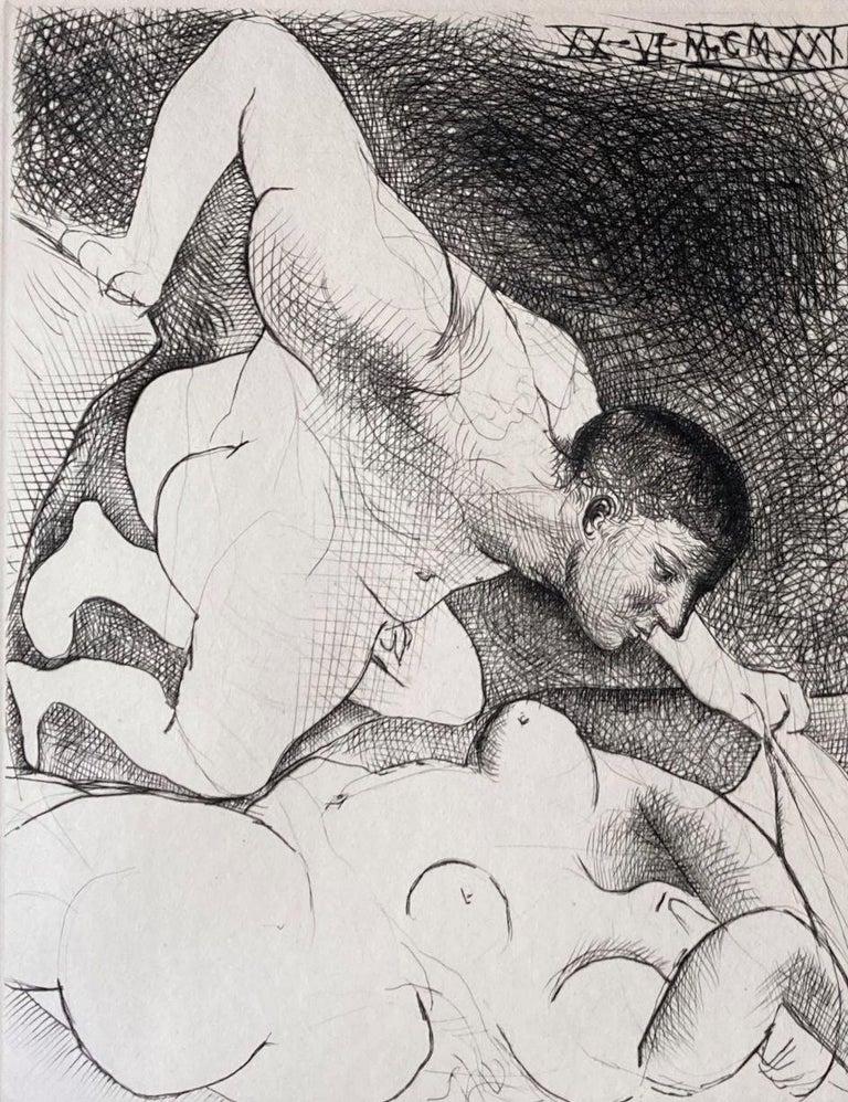 Homme dévoilant une Femme. (Man uncovering a woman). - Print by Pablo Picasso