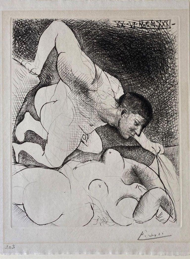 Homme dévoilant une Femme. (Man uncovering a woman). - Modern Print by Pablo Picasso