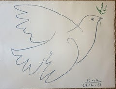 La Colombe Bleue, Dove of Peace lithograph. Combat Pour la Paix.