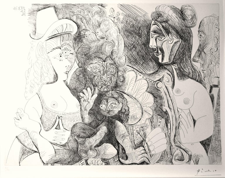 """This etching by Picasso is an edition of 50 prints, Plate 115 from """"Series 156"""". Stamped signature as issued.  No. 40 from the edition of 50.  Original print, perfect impression on vélin blanc, very fresh and with sheet in full margins and perfect"""