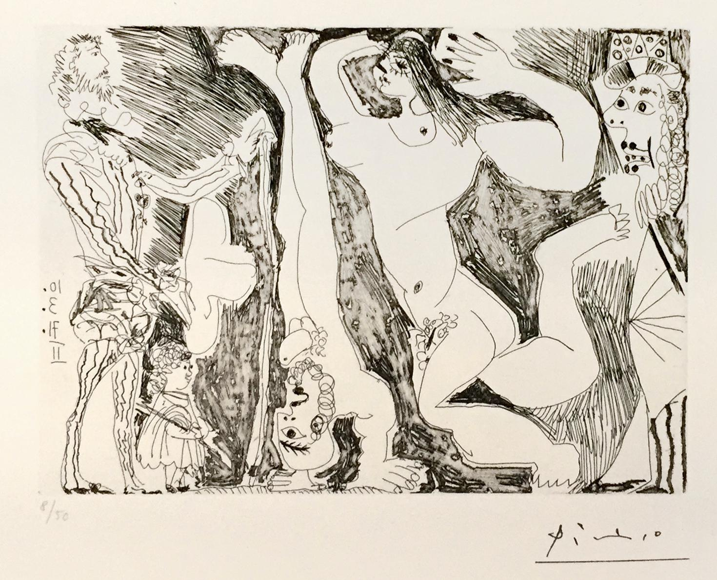 L'Acrobate, avec Femme et Spectateurs - Original Etching 1971