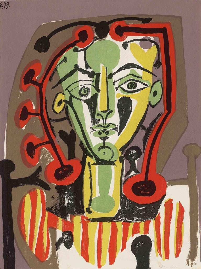 Pablo Picasso Abstract Print - Le Corsage Raye, Limited Edition, Signed Lithograph