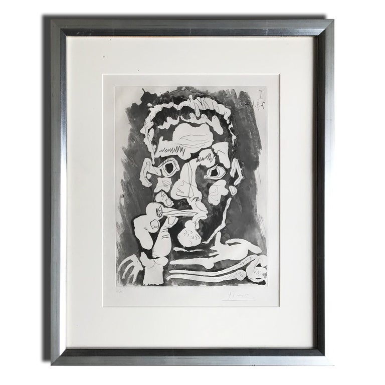 Pablo Picasso Portrait Print - Le Fumeur IV, Etching with Aquatint, Modern Art, 20th Century