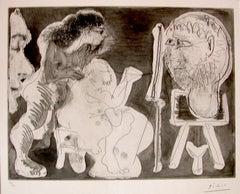 Le Modèle et son Peintre - Original Etching by Pablo Picasso - 1963