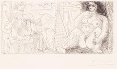Le Peintre et son Modèle - Original Etching by Pablo Picasso - 1963