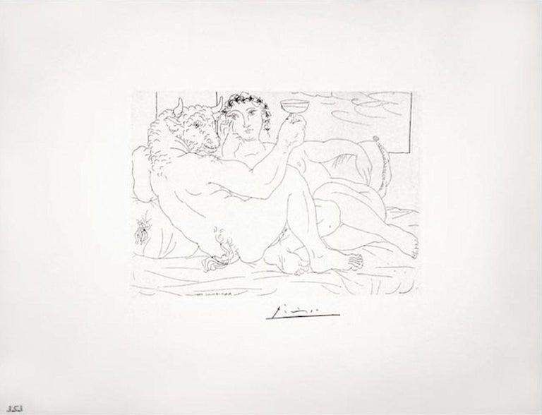 Pablo Picasso: Le Repos du Minotaure : Champagne et Amante (S.V. 83) B0190 - Print by Pablo Picasso