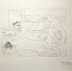 Le repos du sculpteur III - Pablo Picasso, abstract, etching, mid-20th century