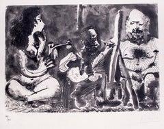 Peintre au Travail avec Modèle barbu et une Spectatrice en Tailleur, Picasso