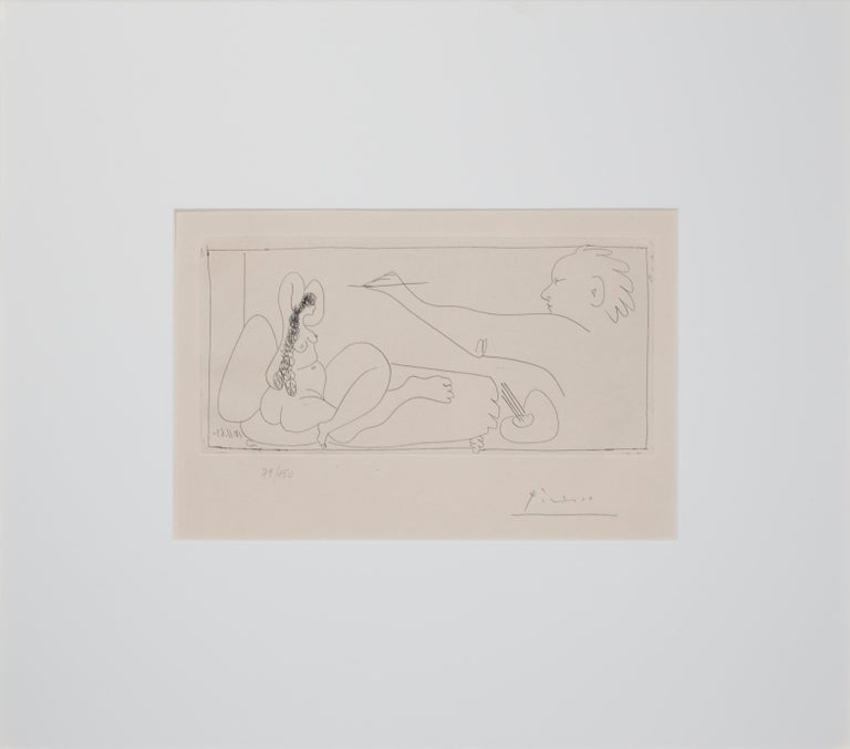 'Les Dames de Mougins' original etching artist and nude signed by Pablo Picasso For Sale 1