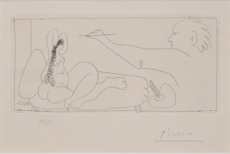 'Les Dames de Mougins' original etching artist and nude signed by Pablo Picasso For Sale 2