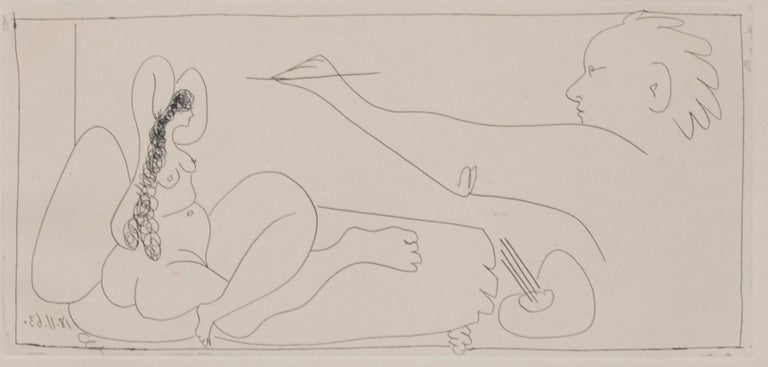 'Les Dames de Mougins' original etching artist and nude signed by Pablo Picasso For Sale 4