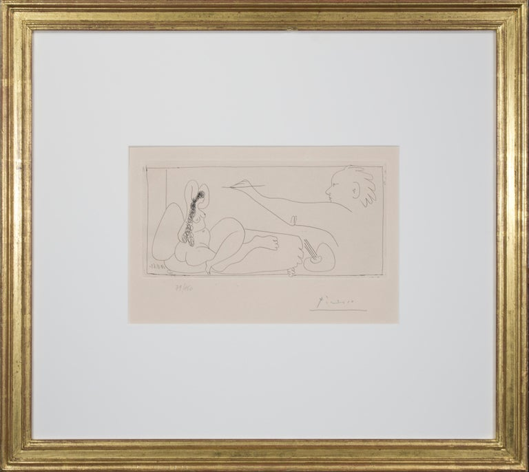 'Les Dames de Mougins' is an original etching by Pablo Picasso, executed in November of 1963. As with many of his works, this particular image functions as something of a self-portrait: The artist in the print, certainly an analogue for Picasso