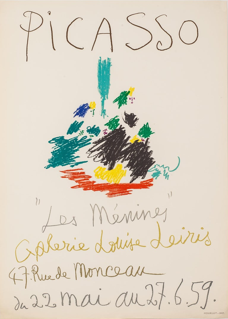 """This lithographic poster was printed at the Atelier Mourlot in Paris in 1959. It was created for the first exhibition of Picasso's famous series of works that reinterpreted Velásquez """"Las Meninas"""". During the summer of 1957, Picasso produced 44"""