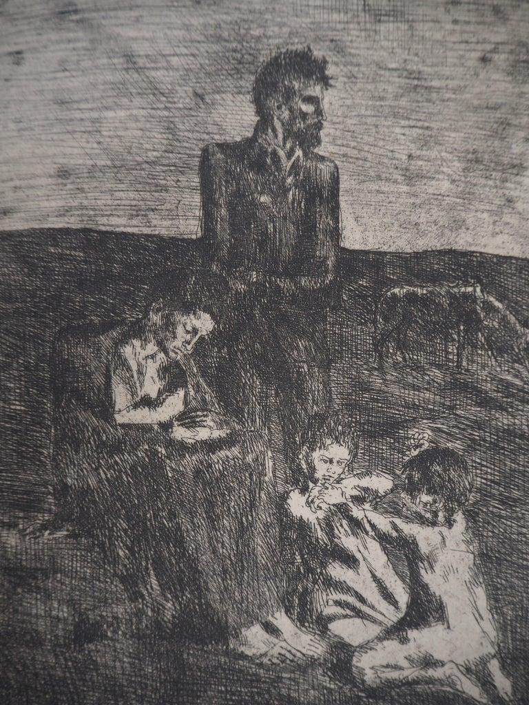Les Saltimbanques : Les Pauvres - Original etching (Bloch #2) - Cubist Print by Pablo Picasso