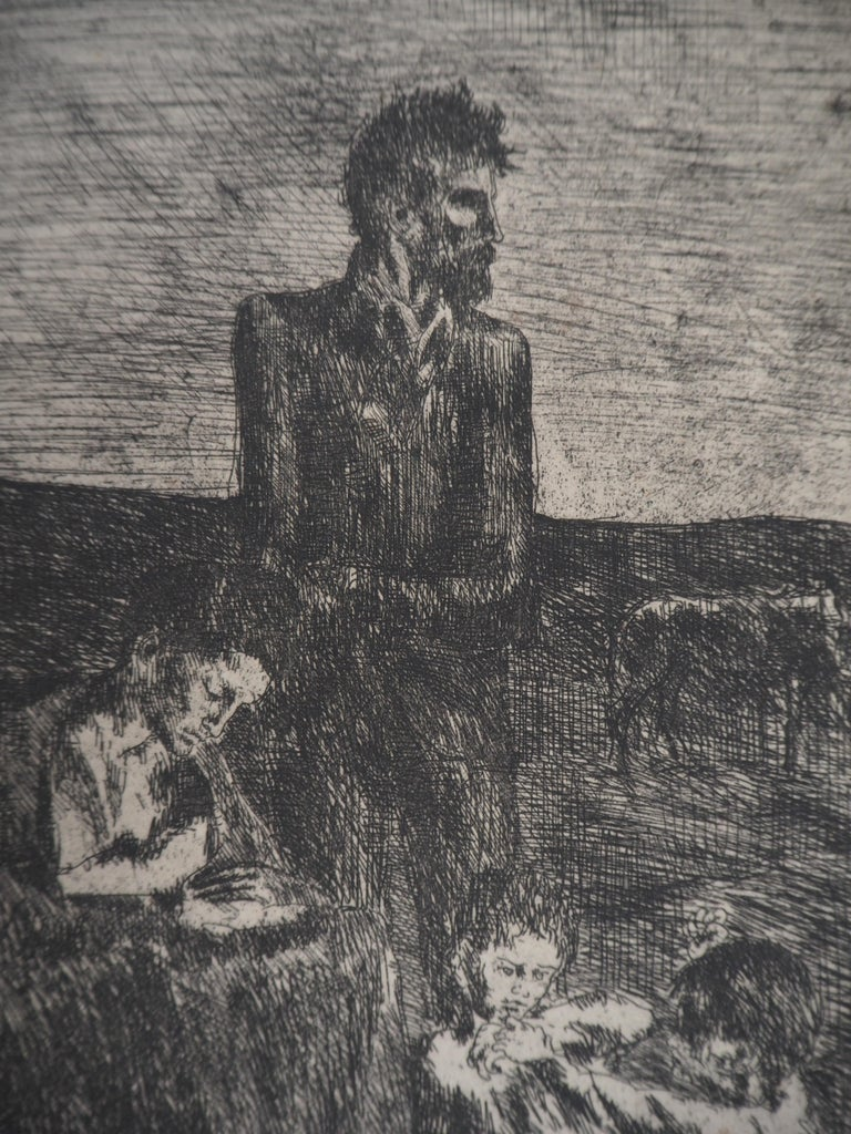 Les Saltimbanques : Les Pauvres - Original etching (Bloch #2) - Gray Figurative Print by Pablo Picasso