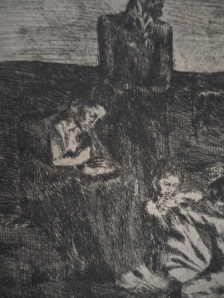 Pablo Picasso Les Saltimbanques : Les pauvres, 1913  Original etching On Van Gelder vellum 51 x 32,5 cm (c. 20 x 13 in) Edited bu Vollard  REFERENCES : - Catalog raisonne Bloch #2 - Catalog raisonne Baer #4 - II - b Engraved by Picasso in 1905 and
