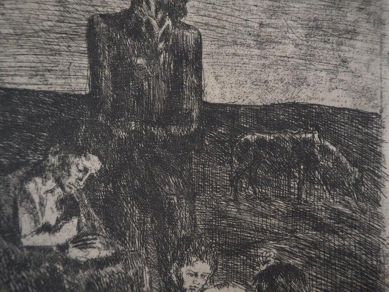 Les Saltimbanques : Les Pauvres - Original etching (Bloch #2) For Sale 1