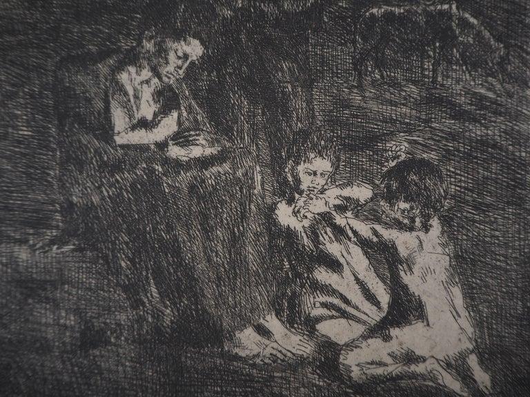 Les Saltimbanques : Les Pauvres - Original etching (Bloch #2) For Sale 2