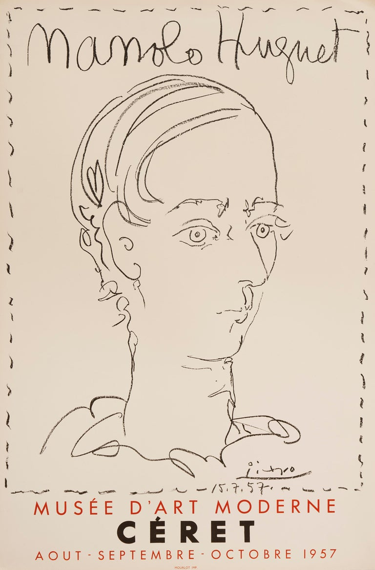 This original lithographic poster was created for an exhibition of works at the Musée D'Art Moderne in Céret, France, in 1957. This portrait of Spanish Sculptor and Picasso friend, Manolo Huguet, was drawn directly on the stone by the artist and
