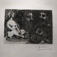 Marie-Therese en idole et trois Grecs Barbus - Original Sugar Aquatint