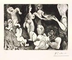 Marin Réveur avec Deux Femmes - Original Etching by P. Picasso - 1970