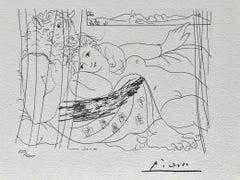 Minotaure et femme derrière un rideau (Suite Vollard Planche XCI)