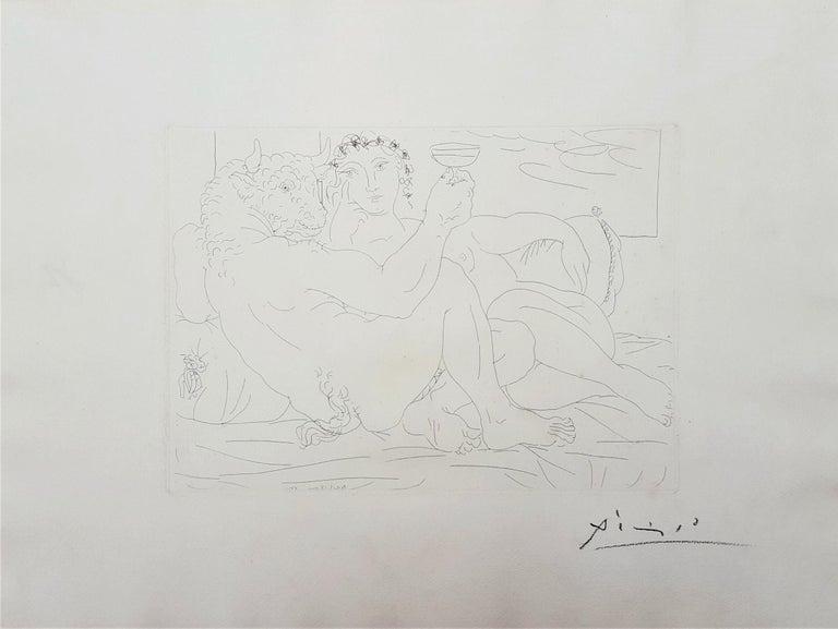 Minotaure, une Coupe à la Main, et Jeune Femme (Minotaur, a Cup in Hand...) - Print by Pablo Picasso