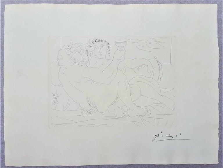 Minotaure, une Coupe à la Main, et Jeune Femme (Minotaur, a Cup in Hand...) - Cubist Print by Pablo Picasso