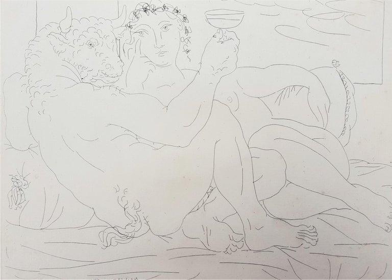Pablo Picasso Nude Print - Minotaure, une Coupe à la Main, et Jeune Femme (Minotaur, a Cup in Hand...)