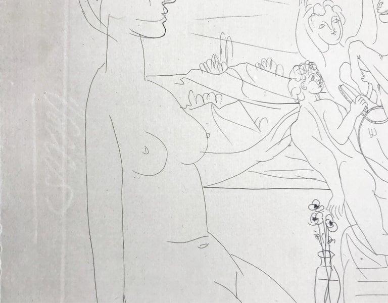 MODELE CONTEMPLANT UN GROUPE SCULPTE (BLOCH 175) - Cubist Print by Pablo Picasso