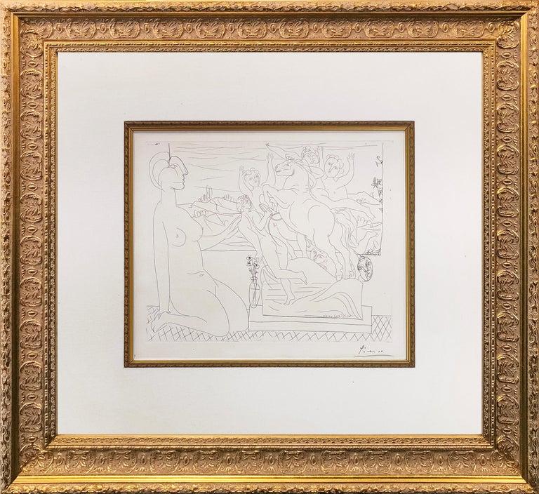 Pablo Picasso Portrait Print - MODELE CONTEMPLANT UN GROUPE SCULPTE (BLOCH 175)