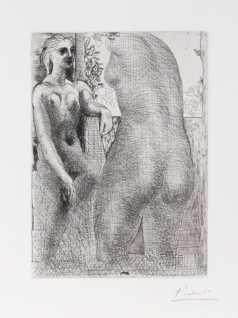 Modèle et grande sculpture de dos, from: La Suite Vollard - Modern Print by Pablo Picasso