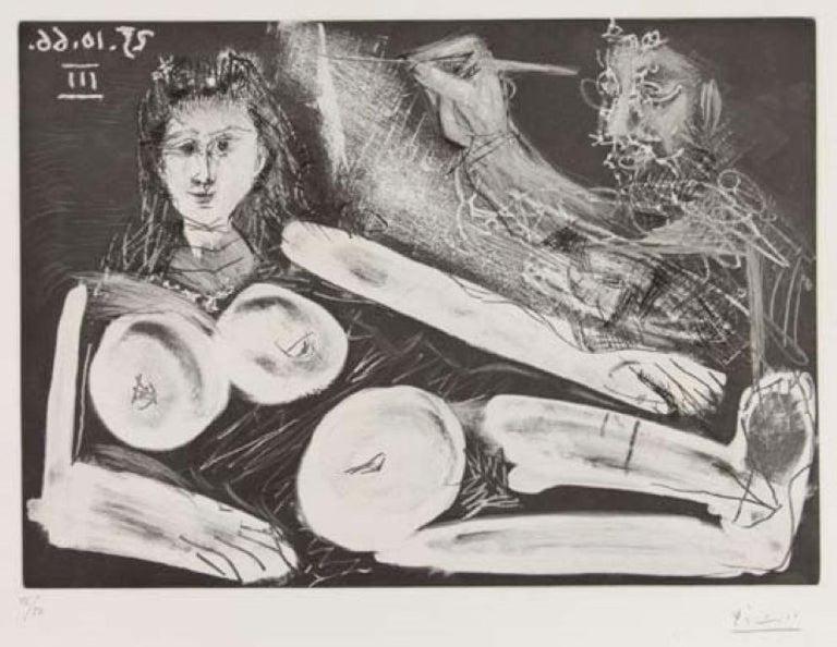 Pablo Picasso Figurative Print - Peintre et Modèle au Collier