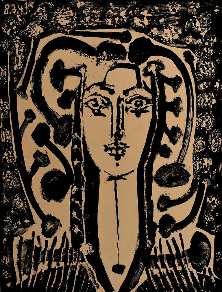 Pablo Picasso Portrait Print - Modern Style Bust (Francoise)  Buste Style Moderne - French Spanish Portait