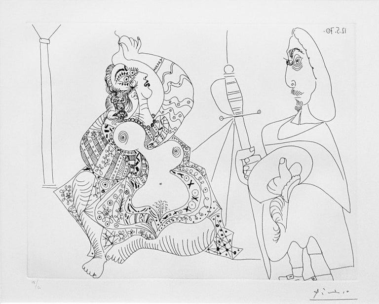Pablo Picasso Nude Print - MOUSQUETAIRE ET ODALISQUE, MEDUSE, PLATE 47 FROM SERIES 156 (BLOCH 1902)