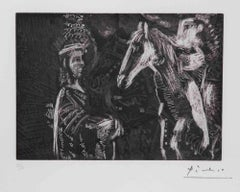 Old Man and Woman Leaning On The Neck of His Horse by Pablo Picasso - 1970