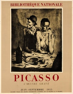 Original Vintage Picasso Graphic Art Exhibition Poster Featuring The Frugal Meal