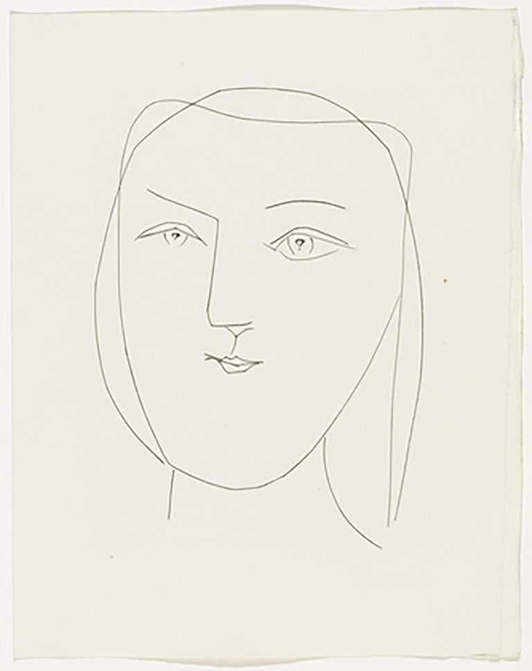 Oval Head of a Woman with Piercing Eyes (Plate XXI) - Print by Pablo Picasso